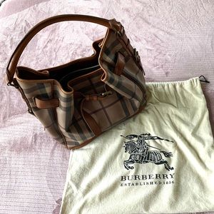 Authentic Burberry Nova Check Bucket Satchel Bag